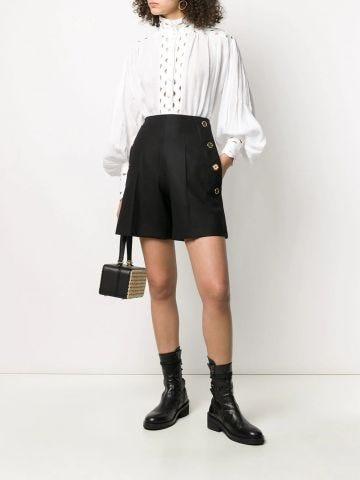 Black cotton button down shorts