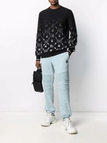 Black monogram sweater