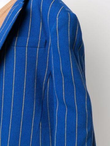 Giacca monopetto blu a righe