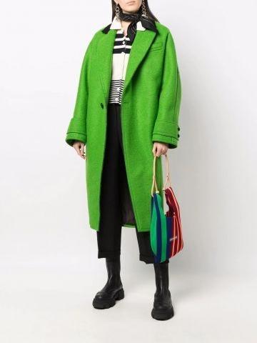 Green single-breasted coat