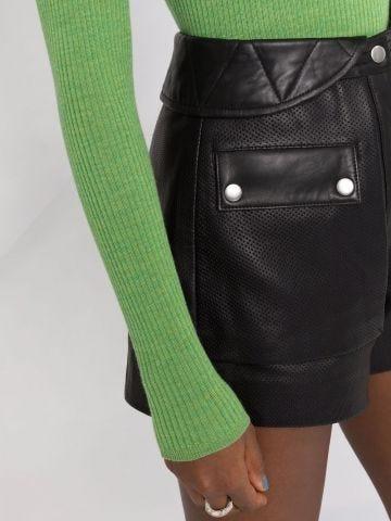 Black leather high-waisted shorts