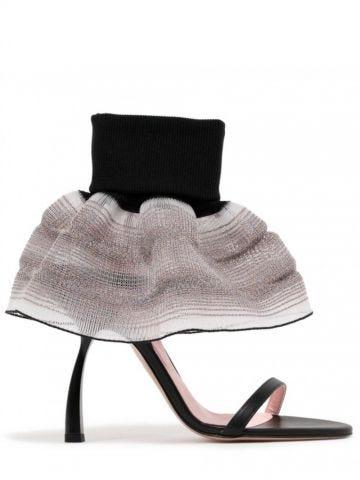 Black Fantasia sandals with flounce detail