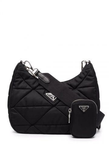 Black Re-Nylon padded hobo bag
