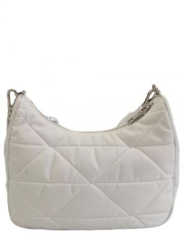 White Re-Nylon padded hobo bag