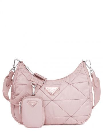 Pink Re-Nylon padded hobo bag