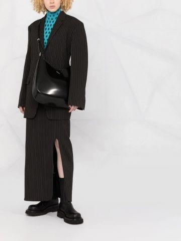 Large Cleo black brushed leather shoulder bag