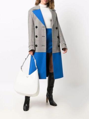 Large Cleo white brushed leather shoulder bag