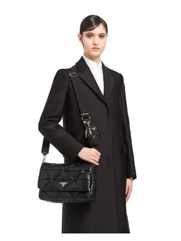 Borsa a spalla Prada System grande in nappa patch nera