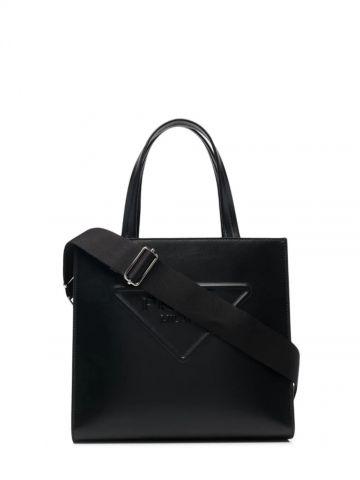 Black embossed-logo tote bag