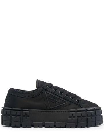 Black Double Wheel nylon gabardine sneakers