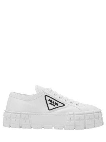 White Double Wheel nylon gabardine sneakers