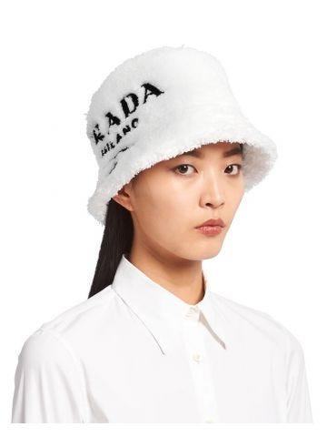 White terrycloth bucket hat