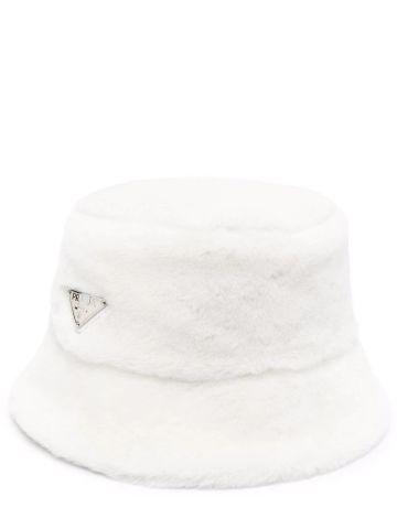 White shearling bucket hat