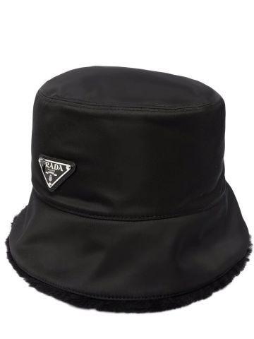 Black nylon and shearling bucket hat