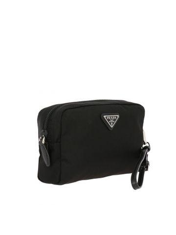 Small black beauty case in nylon and saffiano leather