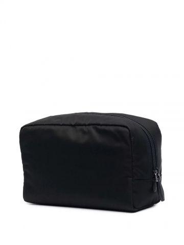 Black nylon cosmetic pouch