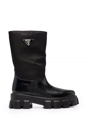 Black boots with logo