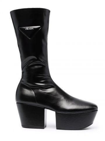 Black triangle logo platform boots