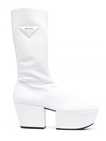 White technical nappa leather platform boots