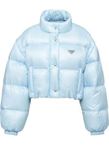 Blue Ciré nylon puffer jacket