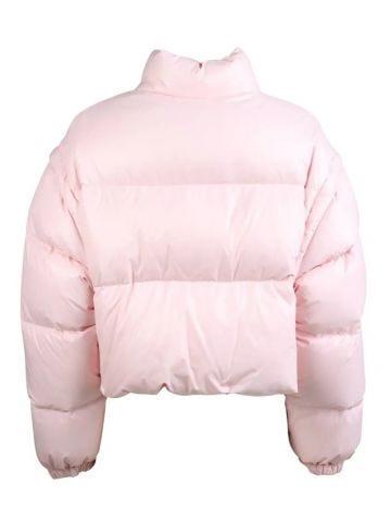 Piumino taglio corto in nylon rosa
