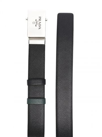 Black and green Saffiano leather reversible belt