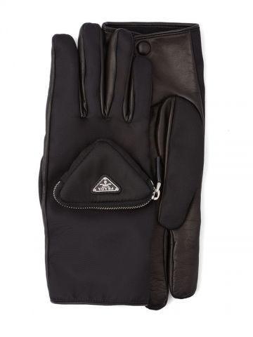 Black gloves with logo