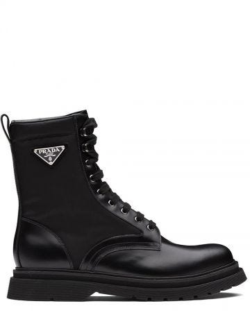Black logo ankle boots