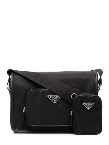 Re-Nylon and Saffiano black shoulder bag