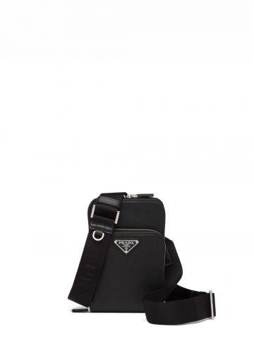 Black Saffiano leather smartphone case