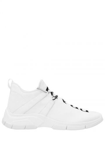 White knit fabric sneakers