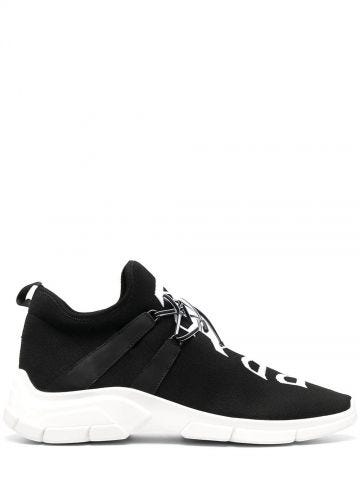 Black knit fabric sneakers