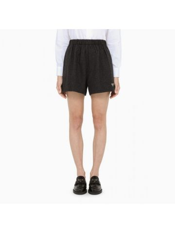 Black checked wool shorts