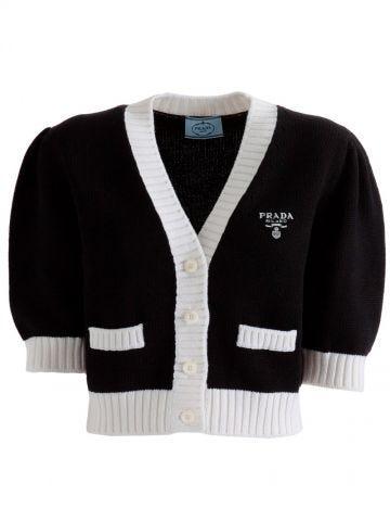 Wool cardigan with intarsia logo
