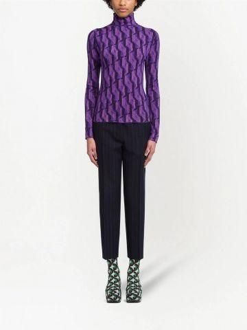 Purple Superfine wool jacquard sweater
