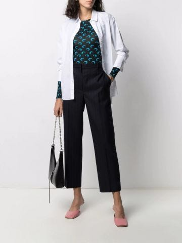 Blue cropped tailored trousers
