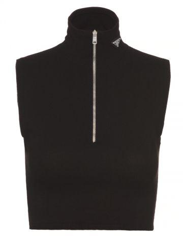 Black wool and viscose turtleneck crop top