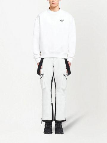 White cotton logo-print sweatshirt