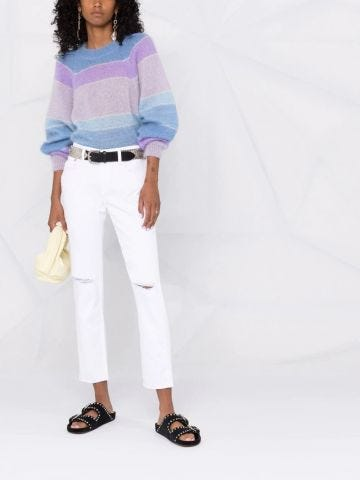 White high-waisted straight jeans