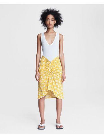 Yellow Sabeen midi zip skirt