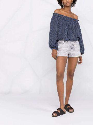 Blue striped off-shoulder blouse
