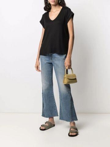 Black ribbed short-sleeve fitted V-neck T-shirt