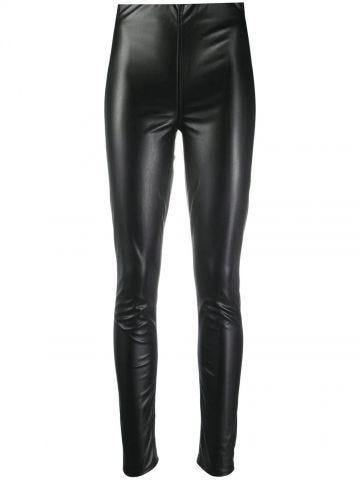 High-waisted black leather leggings