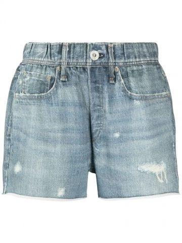 Pantaloncini blu in denim di cotone con strappi