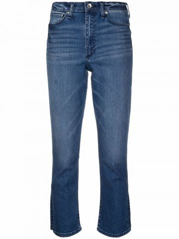 Shaded blue crop jeans
