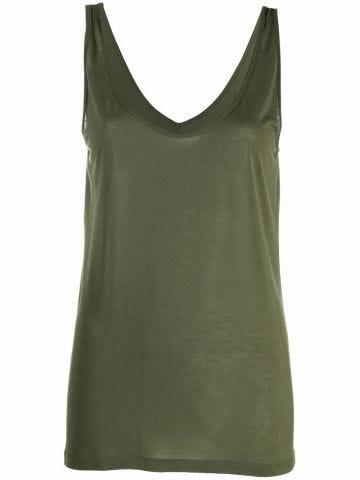 Green v-neck top