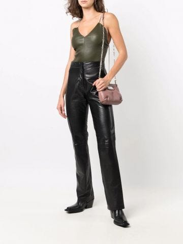 Green V-neck leather bodysuit