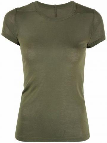Green round neck fine knit T-shirt