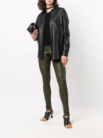 Green low-rise skinny leather trousers