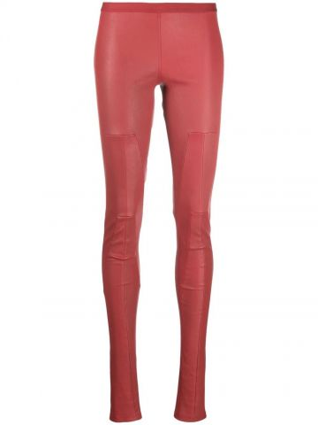 Red low-rise skinny leather trousers